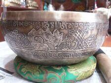 Mantra Carved Buddha Tibetan Singing Bowl, Beaten Hammered Singing Bowls, Nepal