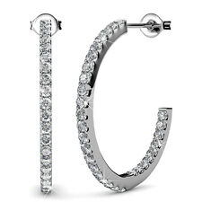 Genuine Swarovski Elements Fine Hoop Earrings 18KGP - Krystal Couture KCE850WG