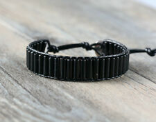 Natural Onice Perline Wrap Bracciale Braccialetto, Chakra in pelle oblunghi black uomo