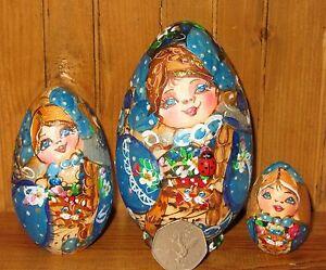 Russian Nesting Matryoshka SMALL BLUE GOLD EGG Dolls Pyrography 3 Mamayeva GIFT