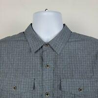 Prana Dark Gray Check Mens Dress Button Shirt Size Medium M