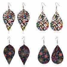 Leather Hook Earrings Dangle Jewelry Hot Women Printing Flower Butterfly Genuine