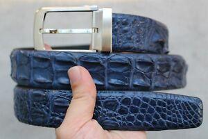 Luxury Blue Genuine Alligator ,Crocodile Leather Skin Men's Belt Handmade