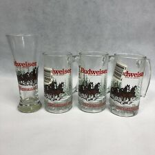 Budweiser Clydesdale 1989 Christmas Holiday Glass Beer Mugs Deadstock Vintage