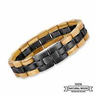Armband aus Holz und Edelstahl | Armreif Kettenglied | Uhren Schmuck für Männer