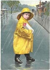 1901 Nabisco Boy in Rain Slicker Stiff Cardboard Magazine Advertisement