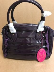 Zandra Rhodes Designer Sofia Rouch And BOWLING Ruffles Bag Gloss PURPLE Genuine