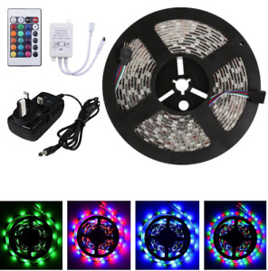 Flexible Light Strip 5M 3528 RGB 300 Led SMD Lamp+24 key IR+12V 2A Power Supply
