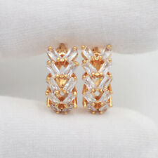 18K Yellow Gold Filled Clear Marquise Mystic Topaz Huggie Earrings Jewelry