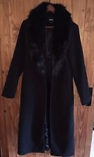Misguided longline faux wool coat with faux fur collar black size 12