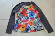 Tee-shirt tunique gris/taupe avec de grandes fleur CATIMINI 10 ans