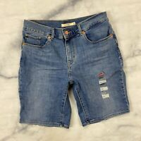 Levis Denim Bermuda Jean Shorts Size 28 Womens 171850001 Hawaii Sun Blue Stretch