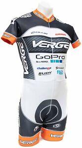 Verge GoPro Primo Short Sleeve Skinsuit Men MEDIUM White Road Bike Cycling Race