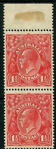"""KGV 1½d Scarlet, marginal pair, with varieties """"Dark band through lower right..."""