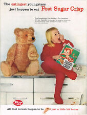 Cereal Post Sugar Crisp Teddy Bear Eatingest 1959 paper ad 10¼ x 14 inch T-Trove