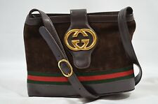 VTG GUCCI SHOULDER BAG PURSE BUCKET GG LOGO & GREEN RED STRIPE SUEDE/LEATHER