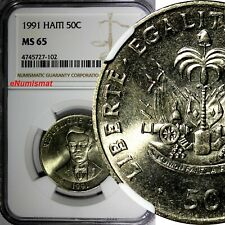 HAITI Copper-Nickel 1991 50 Centimes NGC MS65 Charlemagne Péralte KM# 153