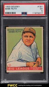 1933 Goudey Babe Ruth #181 PSA 5 EX
