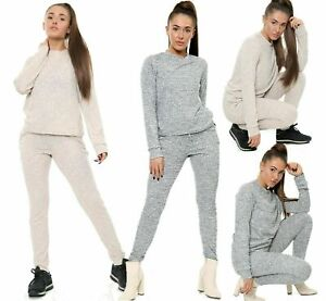 Womens Ladies 2 Pcs Marl Ribbed Loungewear Set Sweatshirt Joggers Tracksuit 8/14