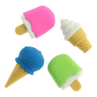 4pcs/Lot Cute Ice Cream Colors Rubber Pencil Eraser Sweet Stationery Set