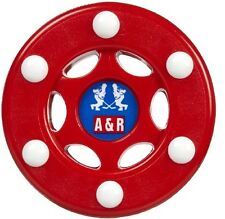 NEW A&R Street  Hockey Outdoor Training PVC Puck 6 Buttons For Better Glide  Red