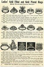 1919 small Print Ad of Ladies Gold Rings Lucky Swastika Tiffany Alaska Diamonds