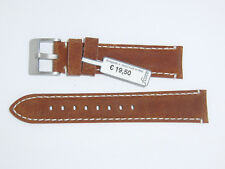 "FLUCO Genuine Vintage Leather Watch Band Strap 20 mm Brown Cognac ""Woodstock"""