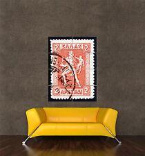 Stampa Poster gigante FRANCOBOLLO Grecia HERMES Messenger 2 due dracma pamp164