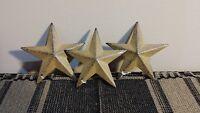 """Lot of 3 Primitive Mustard 3.5"""" Barn Stars - Ornaments, Metal, Distressed, star"""