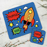 Personalised Kids New Comic Rocket Wooden Glossy Placemat and Coaster Set
