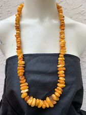 """OLD 30's GENUINE BALTIC AMBER 32"""" LONG CHUNKY EGG YOLK NECKLACE 106 gr"""