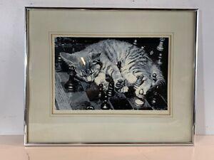 """Vintage """"Chessboard Cat 2"""" Framed Serigraph Signed James H. Wennerstein"""