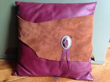 New - Handmade Western Style Pillow - Maroon Faux Leather w/ Genuine Brown Suede