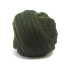 50g Dyed Merino Wool Top Moss Dark Green Dreads Needle Spinning Felting Roving