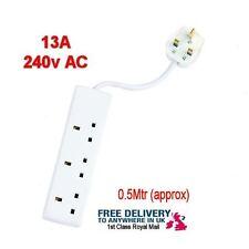 3 WAY EXTENSION LEAD TRIPLE SOCKET SPLITTER 13A UK PLUG ADAPTOR 0.5 Metre lead