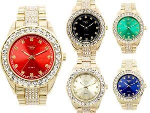 Men Iced Watch Bling Rapper Simulate Diamond Gold Hip Luxury Cubic Unisex Hot