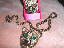 SALE Rare & HTF Betsey Johnson Crystal Panther Necklace & Ring
