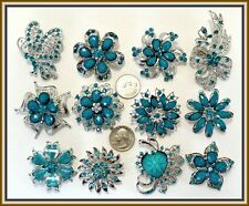24 pc BLUE Vintage Style Lot Brooches Pins Faux Rhinestone Wedding Bouquet