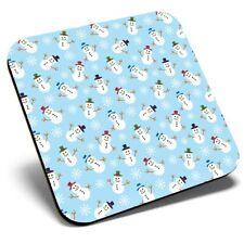 Square Single Coaster - Christmas Pattern Snowmen Snow  #12407