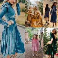 Mother and Daughter Matching Dress Women Girl Midi Dress Family Clothes Outfits