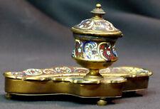 19èm rare joli encrier  bronze émail cloisonné jade godet inkwell 270g12cm déco