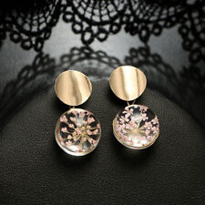 Women Clear Transparent Ball Sequin Dangle Hanging Dried Flower Earrings Jewelry