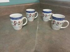 Set of 4 Thomson Pottery SNOWMEN Coffee Cups Mugs