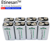 Etinesan 8pcs 550MAH Li-Ion lithium 9V 8.4v rechargeable battery Free shipping