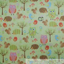 BonEful FABRIC FQ Cotton Quilt Green Tree Scenic Wood Forest Animal Owl Hedgehog