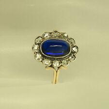 Antiker Ring mit ca. 0,50ct Diamantrosen und ca. 1,00ct Saphir 585/14K Bicolor
