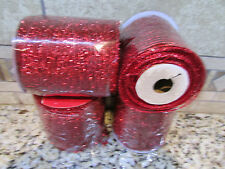 """NEW 120 FT RED OPEN WEAVE CRAFT RIBBON STRETCHY W/WIRE 4"""" WIDE FREE SHIP 4 ROLLS"""
