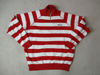 VINTAGE Ralph Lauren Polo Sweater Adult Large Red White Striped Spell Out 90s A*