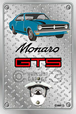 Wall Mount Bottle Opener Metal Sign - HOLDEN HK GTS Coupe Monza Blue