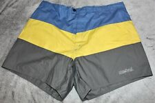 Mens Sz 36 Large Mistral Blue Yellow Brief Lined Color Block Swim Trunks Shorts